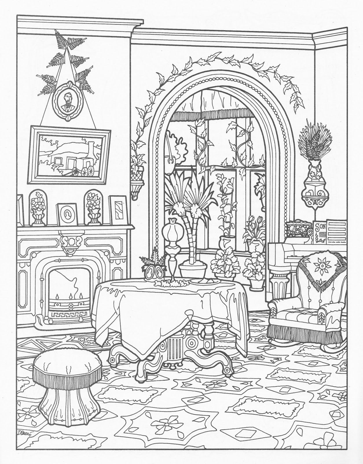 Free Victorian Christmas Coloring Pages With House Colour ART