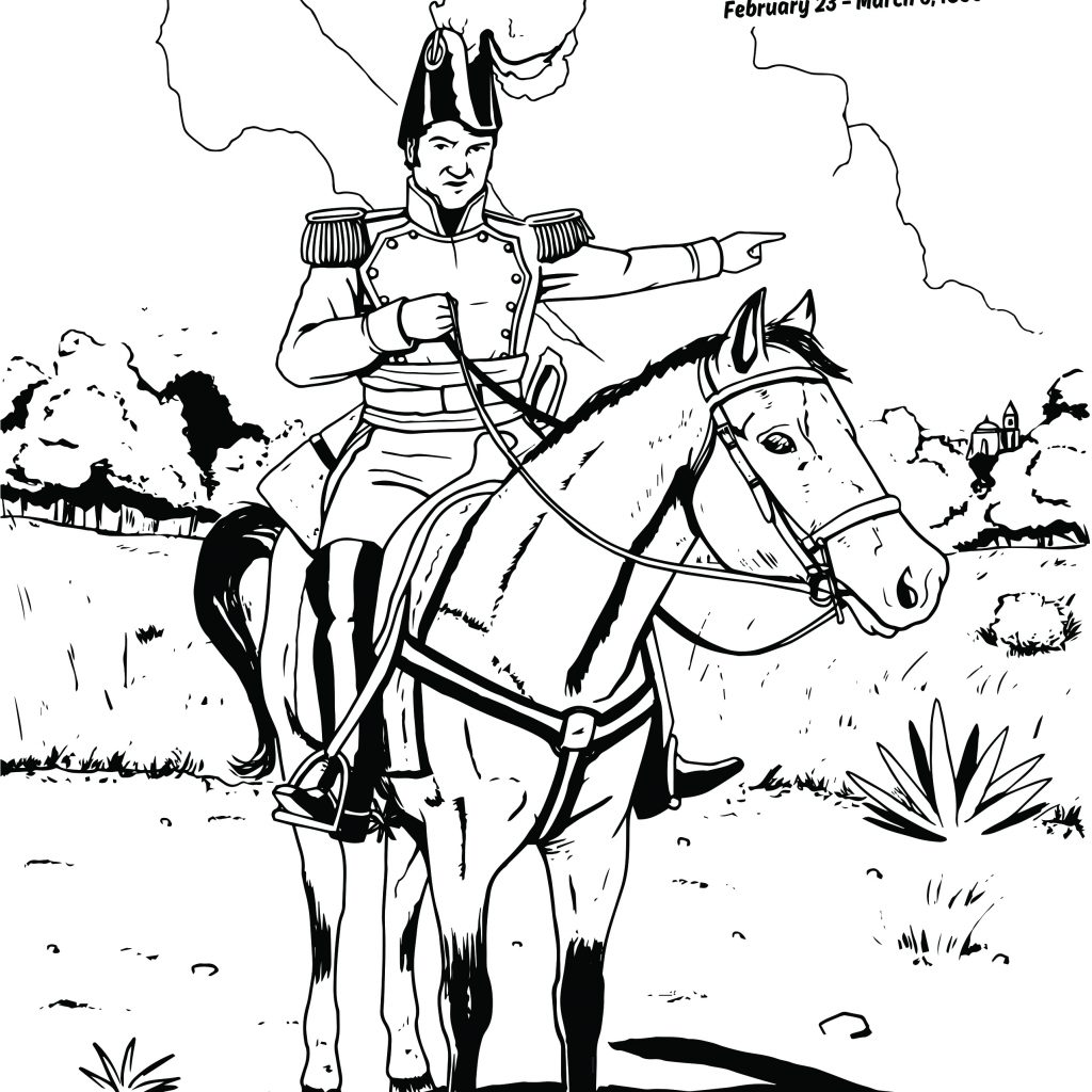 General Santa Anna Coloring Pages With Alamo Sheets For Children