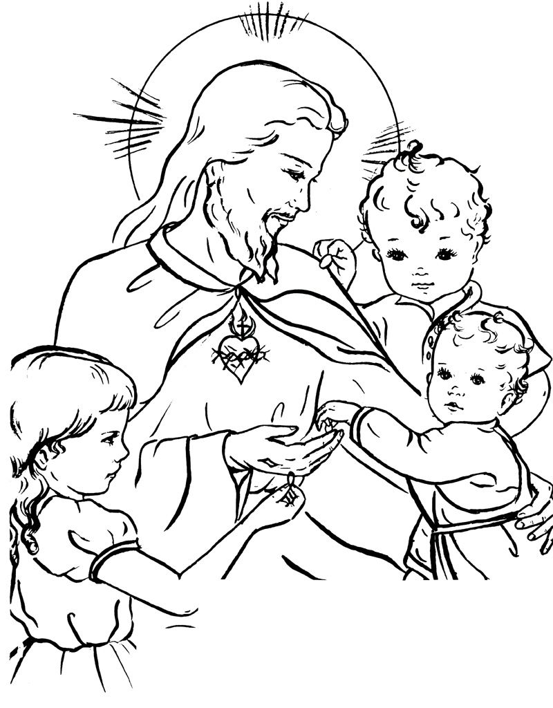 General Santa Anna Coloring Pages With Jesus And The Children Sacred Heart Catholic Page Pray