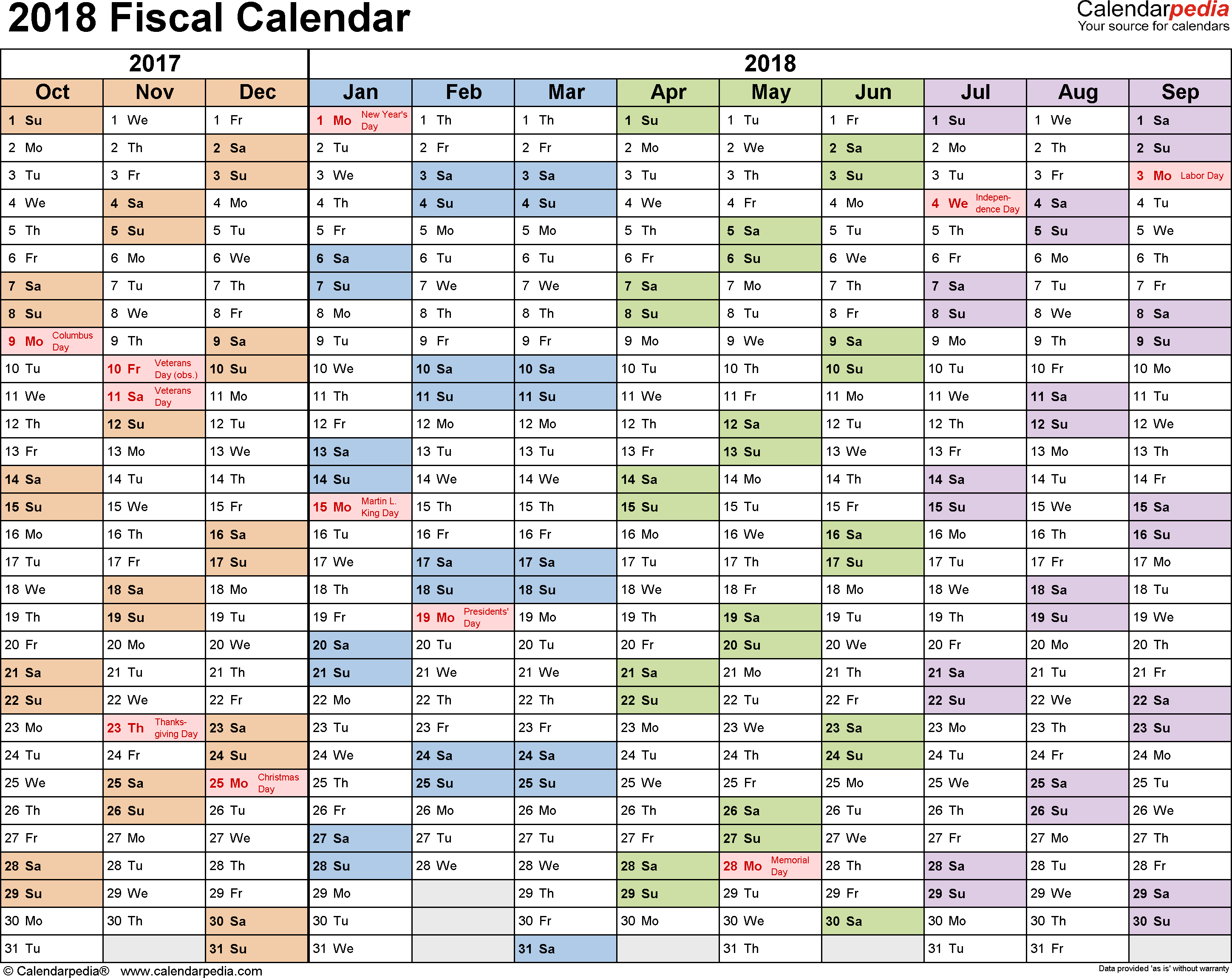 Government Fiscal Year 2019 Calendar With Calendars 2018 As Free Printable PDF Templates