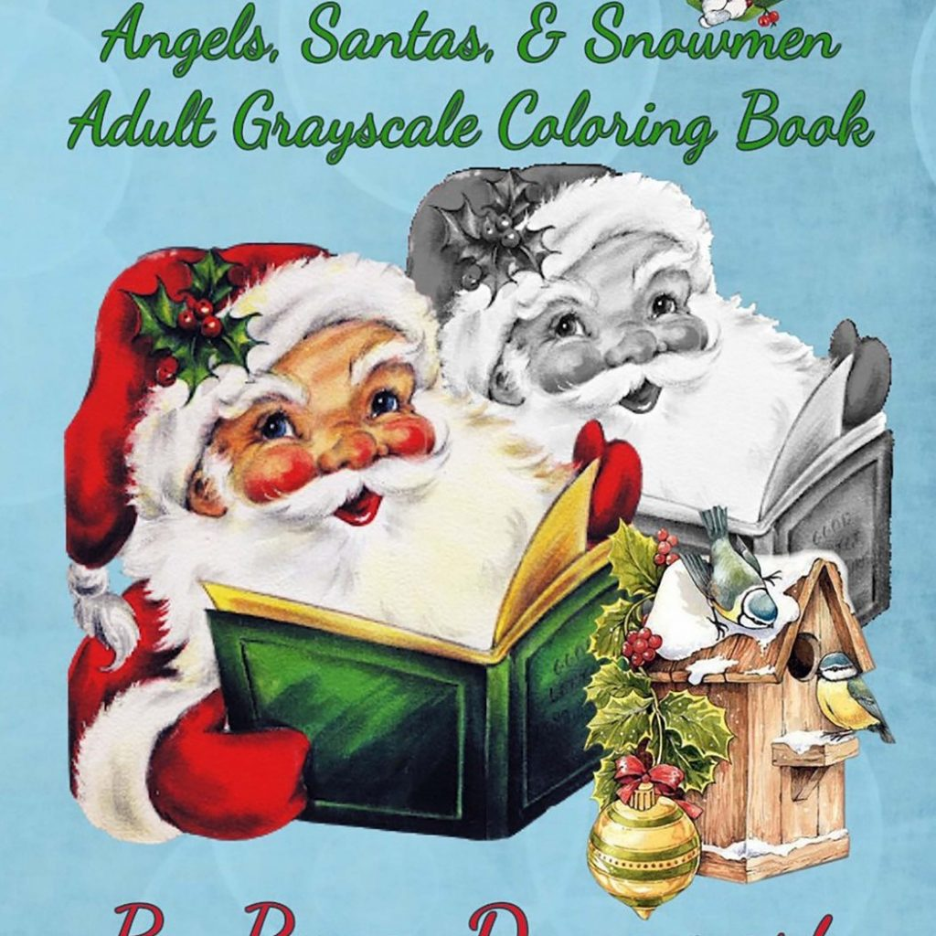 grayscale-santa-coloring-pages-with-amazon-com-holiday-retro-angels-santas-snowmen-adult