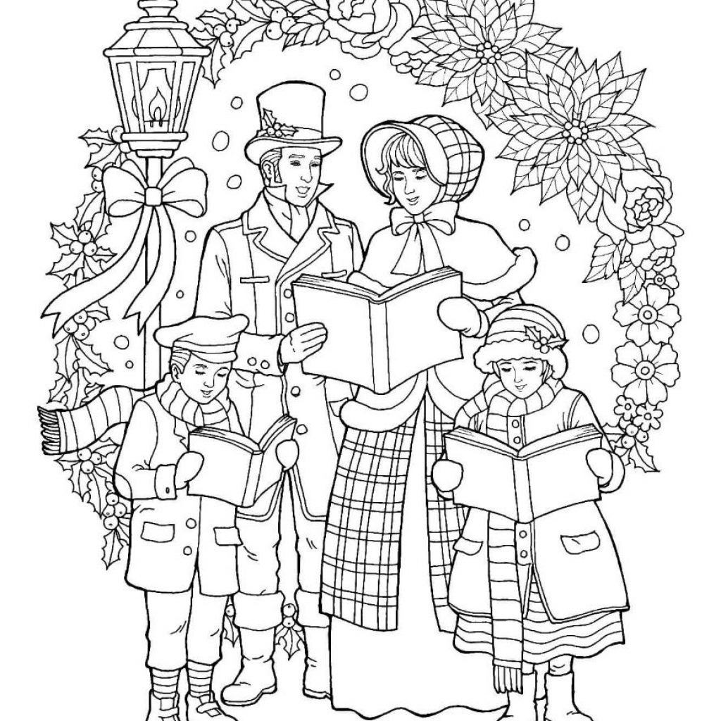 Grayscale Santa Coloring Pages With Caroler Christmas Page Pinterest