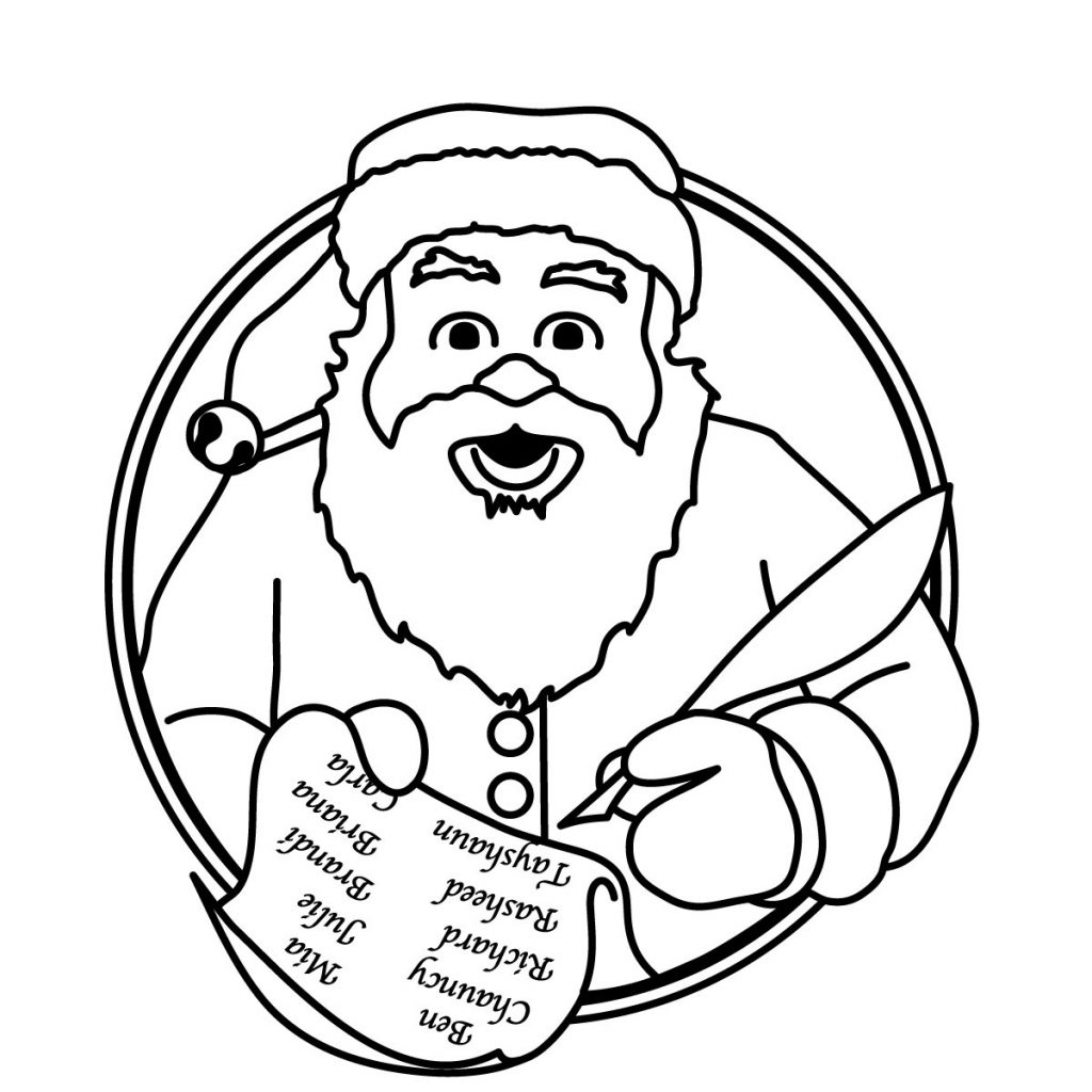 Grayscale Santa Coloring Pages With Free Father Christmas Pictures To Colour Download Clip Art