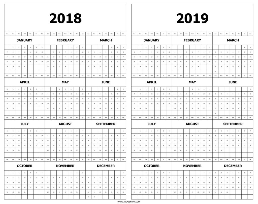 Half Year Calendar 2019 With At A Glance Template Design