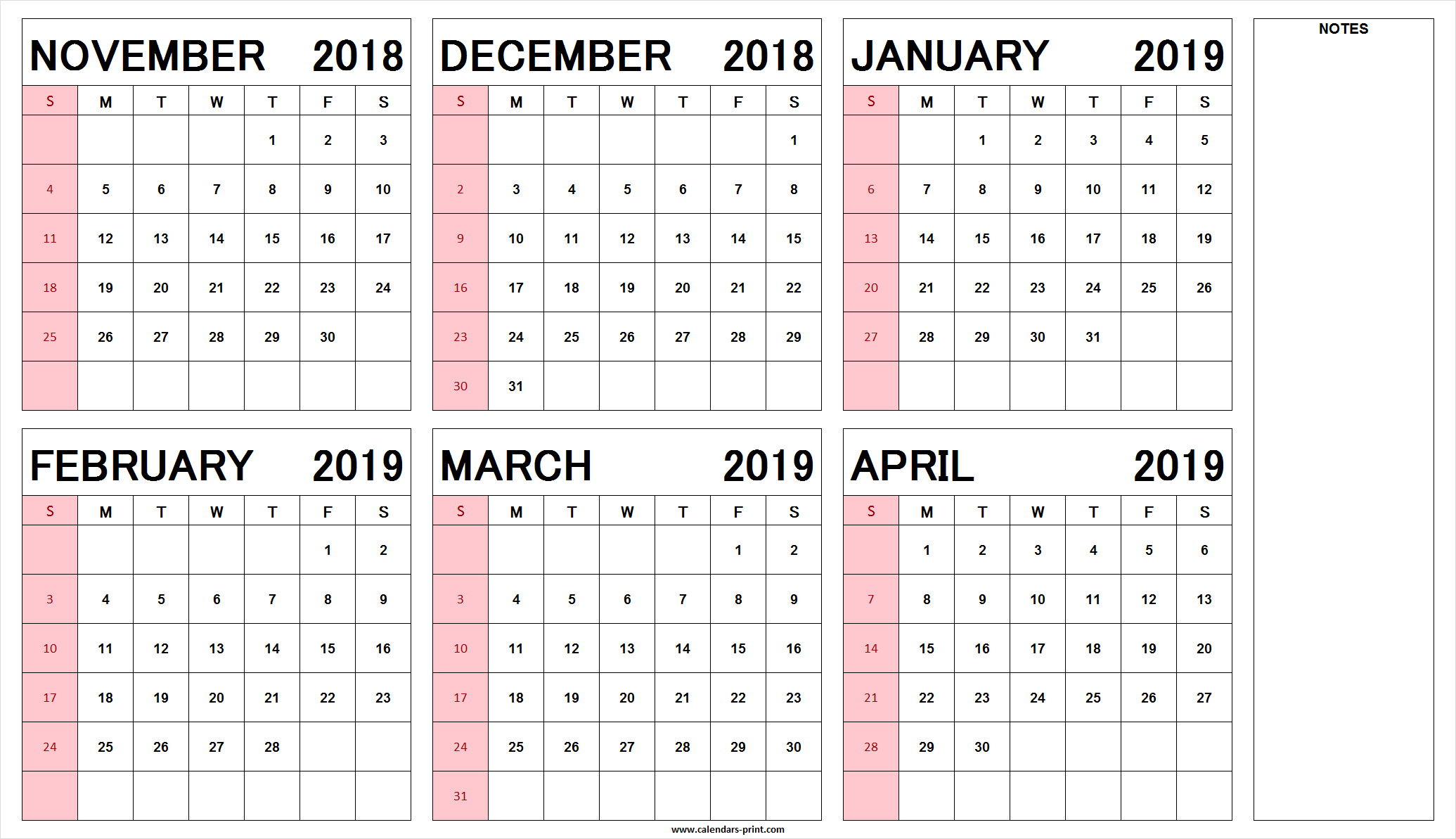 Half Year Calendar 2019 With Blank November 2018 To April Printable PDF JPG PNG