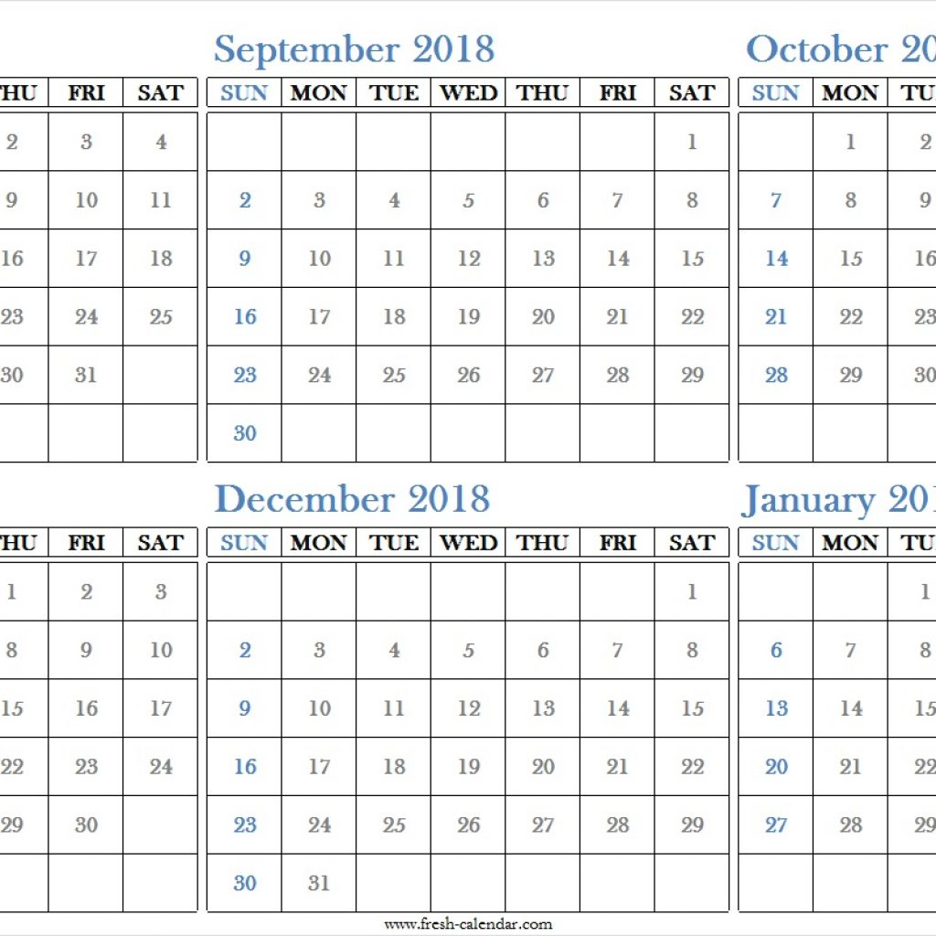 Half Year Calendar 2019 With Blank Six Months 2018 August To January Printable Free