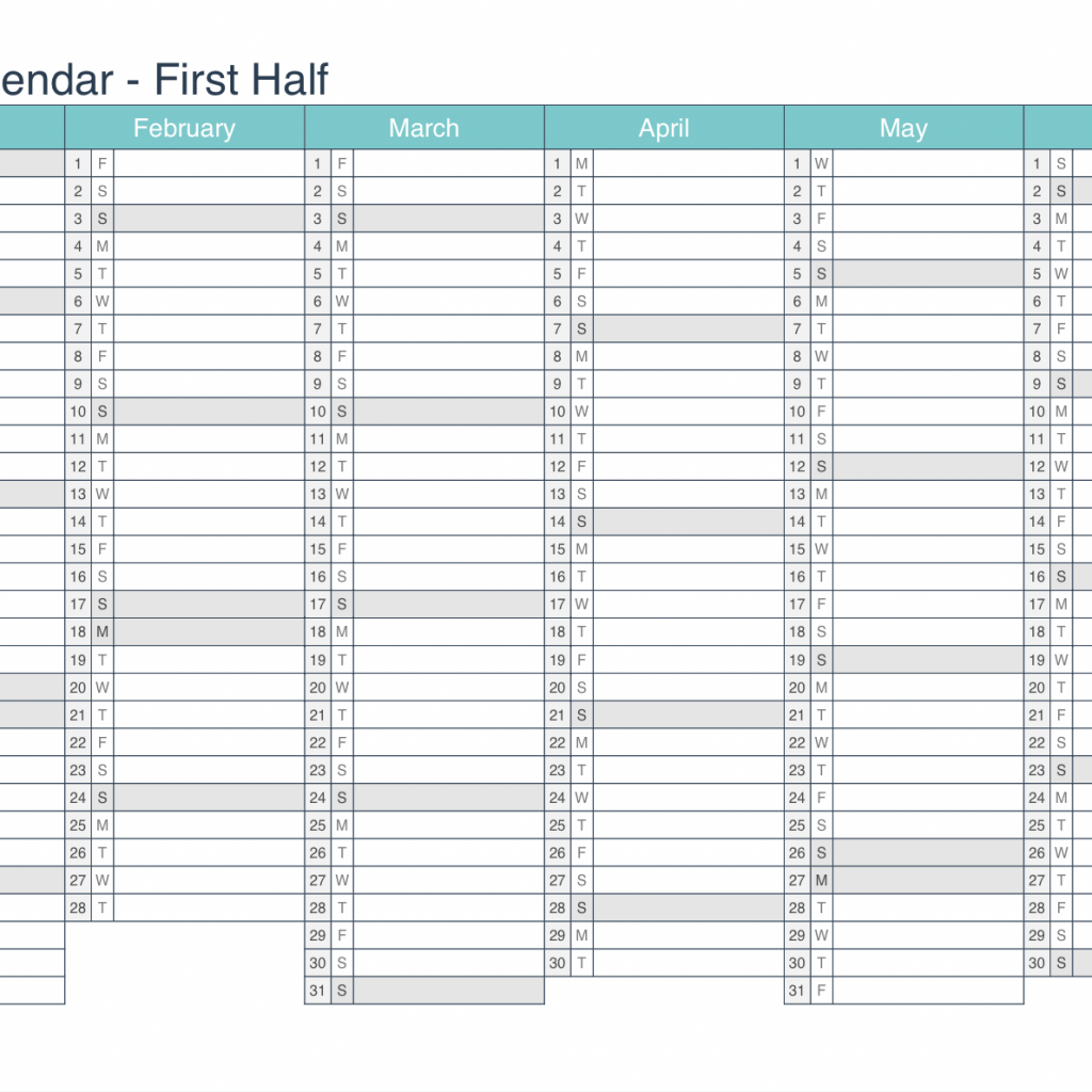 Half Year Calendar 2019 With Printable PDF Or Excel Icalendars Net