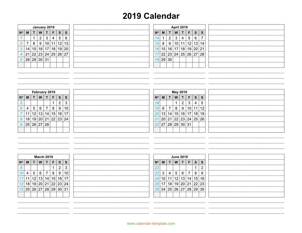 Half Year Calendar 2019 With Template Six Months Per Page
