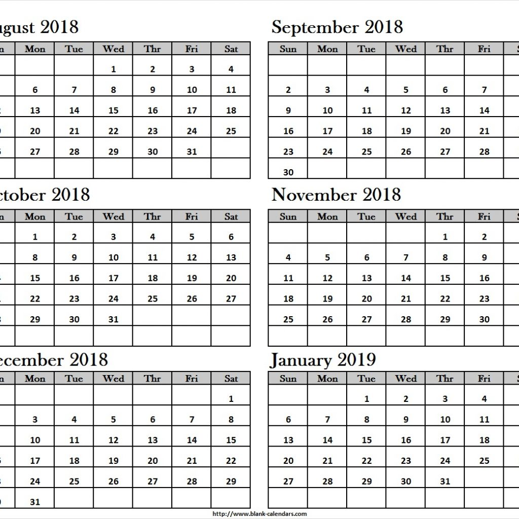 Half Year Calendar 2019 With Yearly August 2018 To January Print Blank