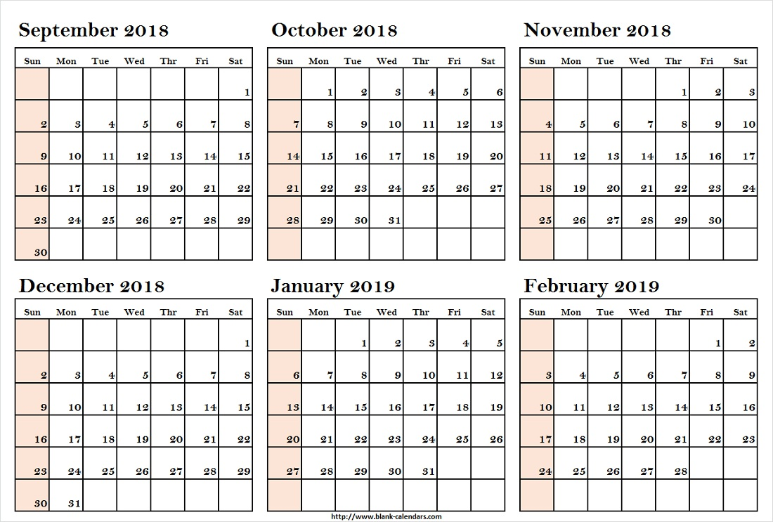Half Year Calendar 2019 With Yearly September 2018 To February Print Blank