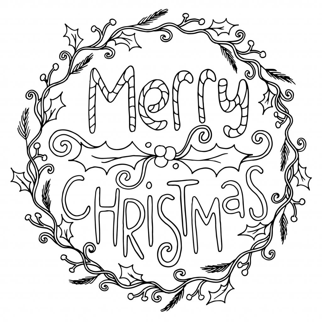 Happy Christmas Coloring Pages With Merry For Adults Collection Free