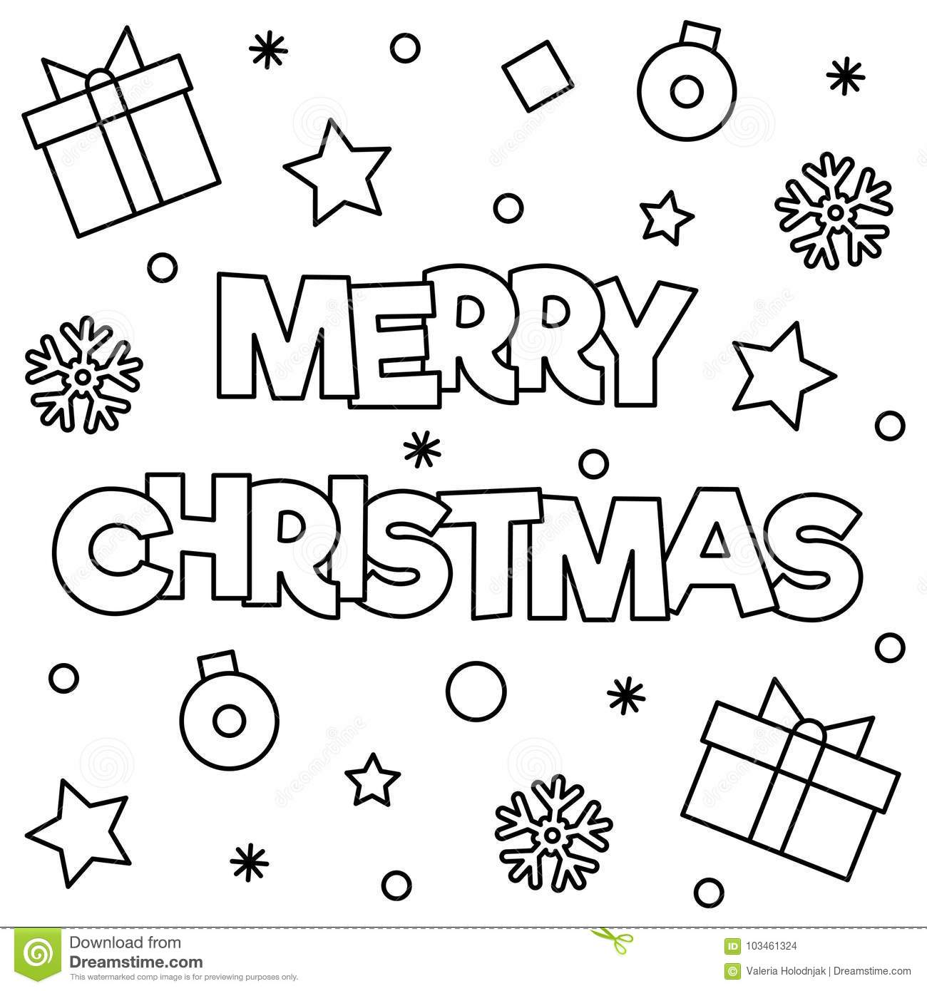 Happy Christmas Coloring Pages With Merry Page Vector Illustration Stock