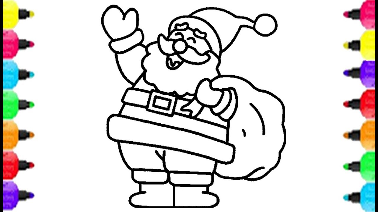 Happy Christmas Coloring Pages With Santa Claus How To Draw Merry