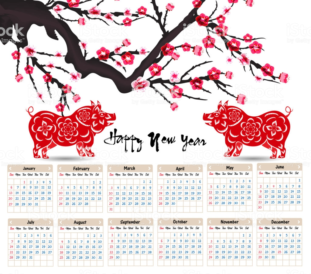 Happy New Year 2019 Calendar With Chinese For Of The