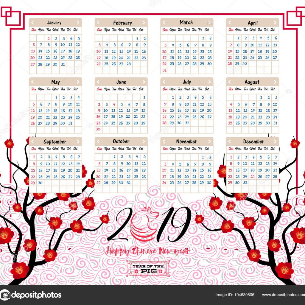 Happy New Year 2019 Calendar With Chinese Pig Stock