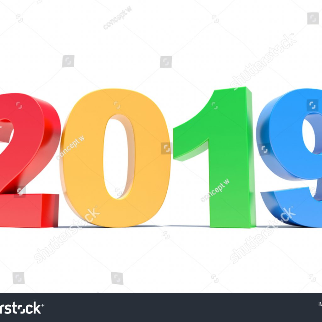 Happy New Year 2019 Calendar With Colorful Background Stock Illustration
