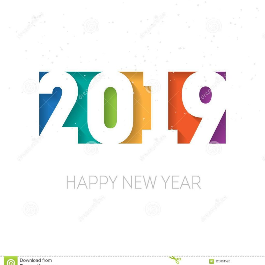 Happy New Year 2019 Calendar With Greeting Card Or Cover Design Temp