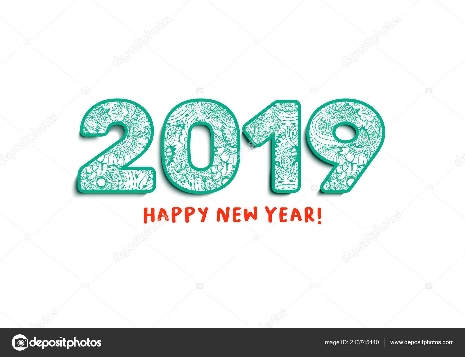 Happy New Year 2019 Calendar With Lettering Greeting Front Cover