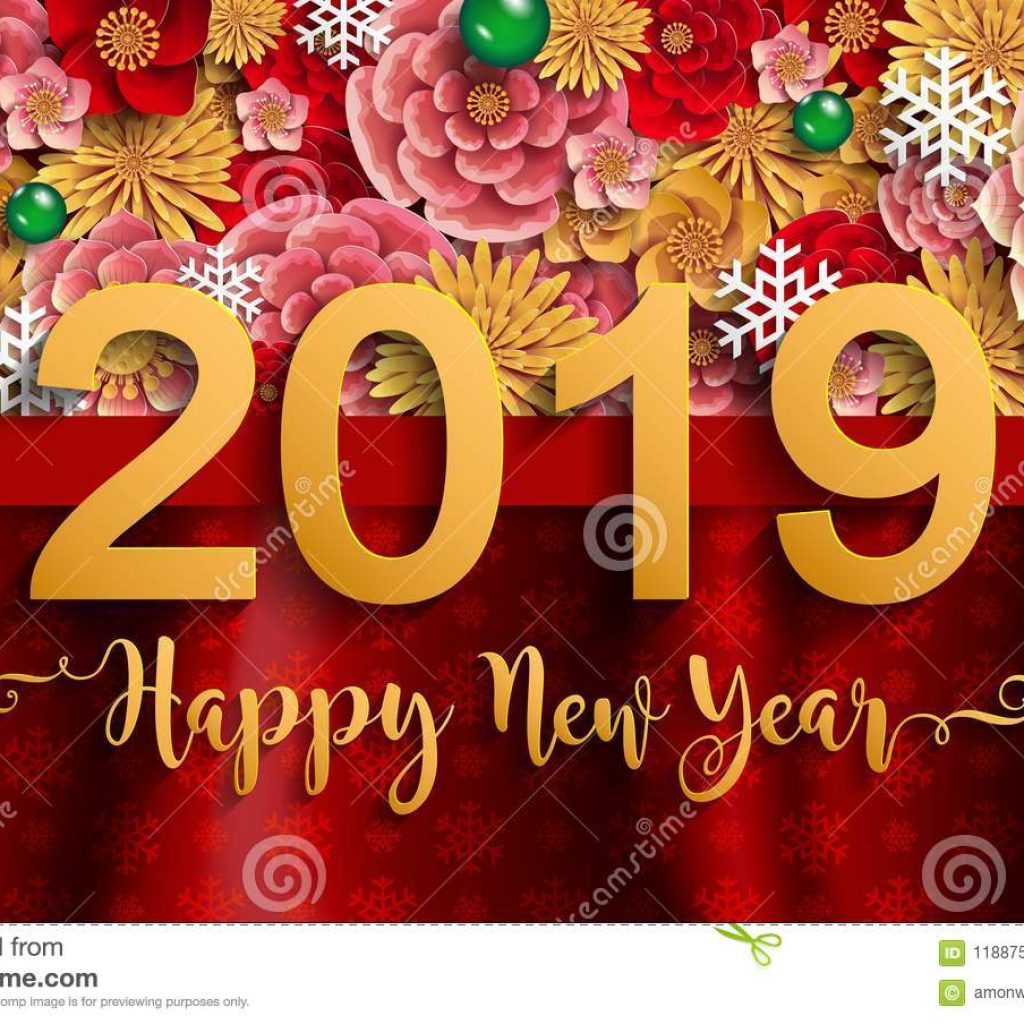 Happy New Year 2019 Calendar With Merry Christmas And Stock Vector Illustration