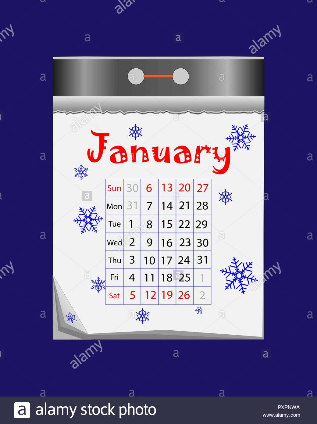 Happy New Year 2019 Calendar With Tear Off Icon In Flat Style On Blue