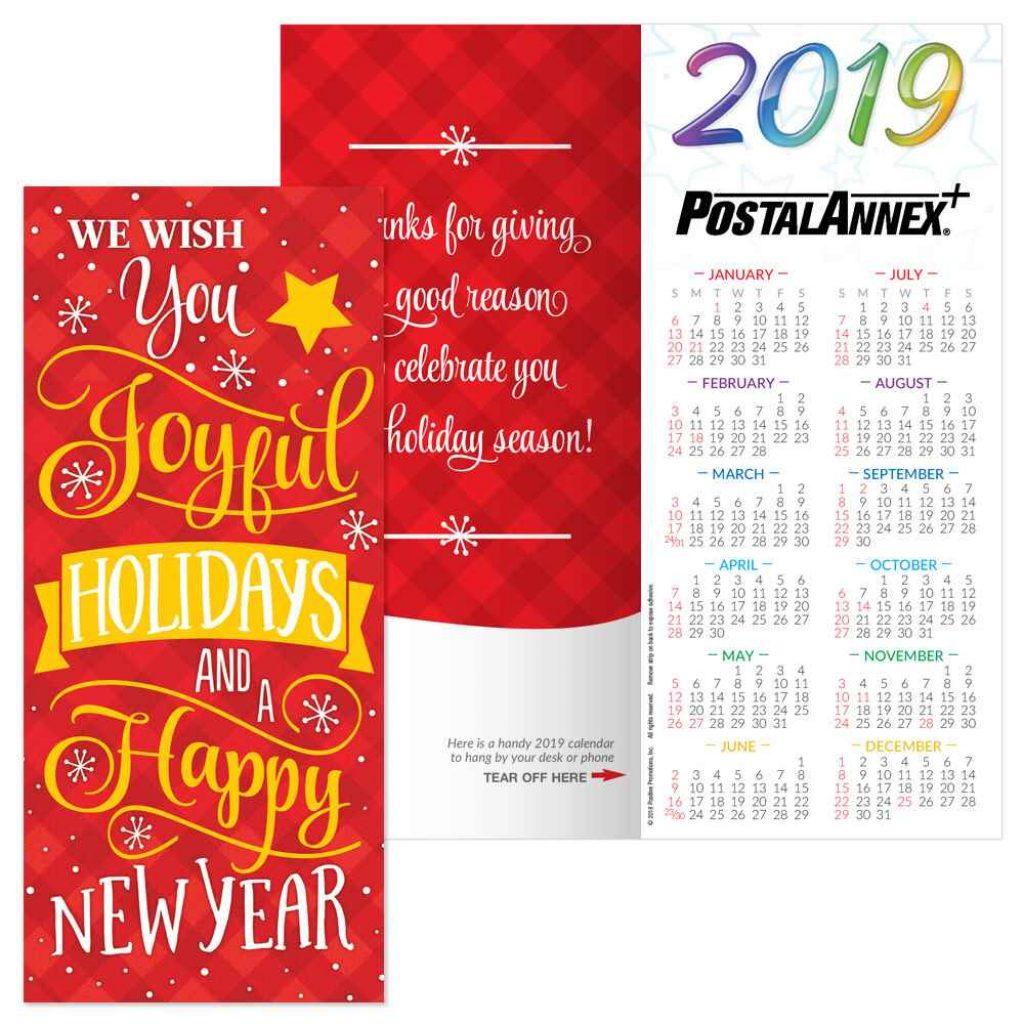 Happy New Year 2019 Calendar With We Wish You Joyful Holidays And A Holiday