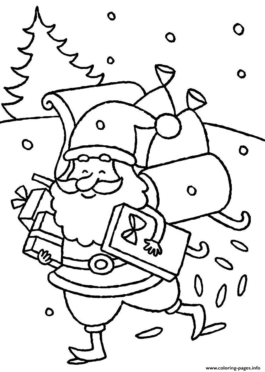 Happy Santa Claus Christmas Coloring Pages With Delivering Presents S For Kidscfe7