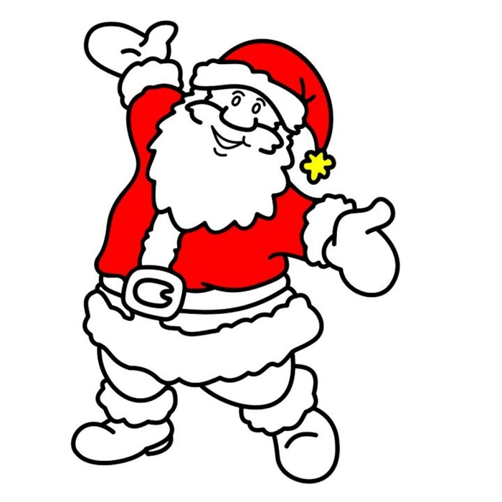Happy Santa Claus Christmas Coloring Pages With How To Draw For Children
