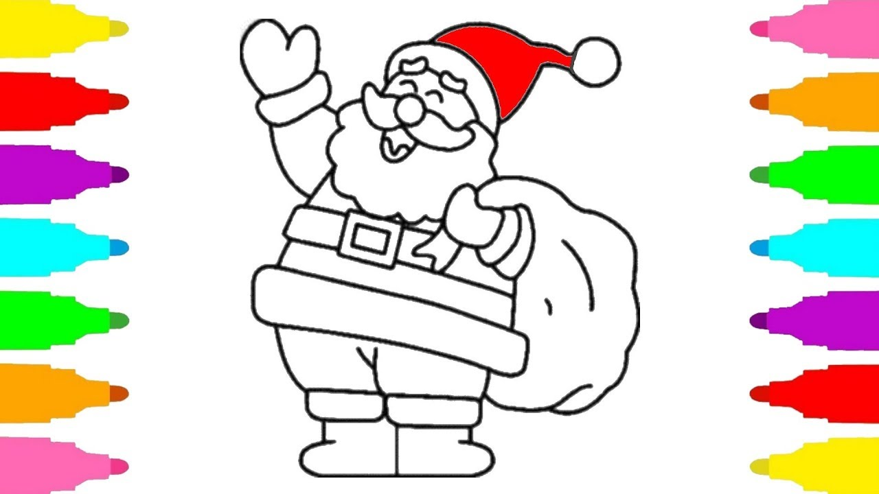 Happy Santa Claus Christmas Coloring Pages With How To Draw For Kids Baby