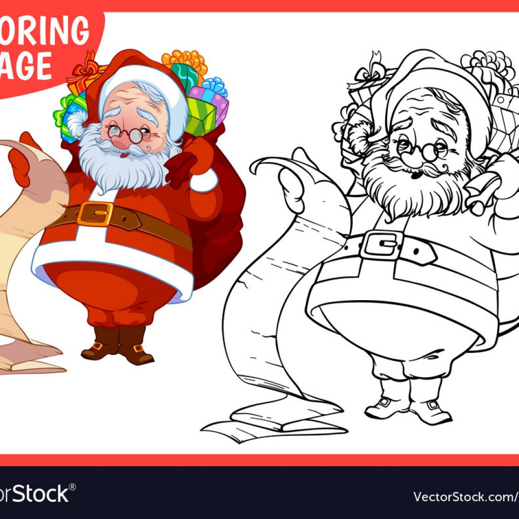 Happy Santa Claus Christmas Coloring Pages With Page A Bag Of Vector Image On VectorStock