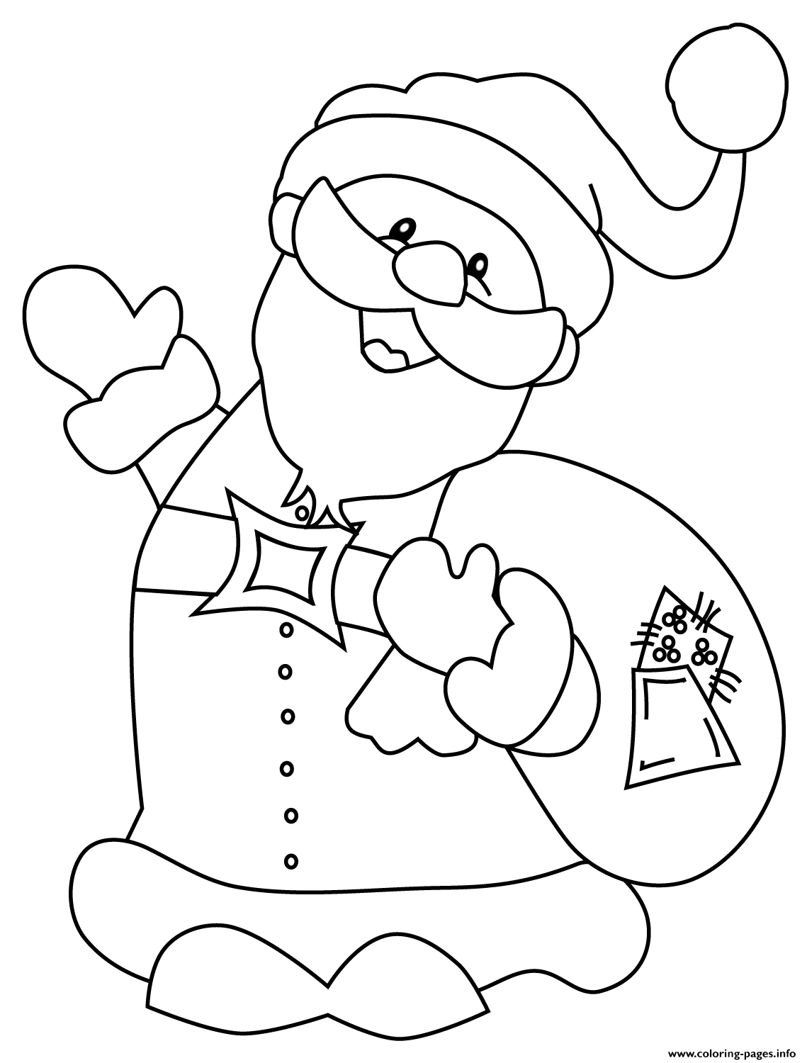 Happy Santa Claus Christmas Coloring Pages With Printable