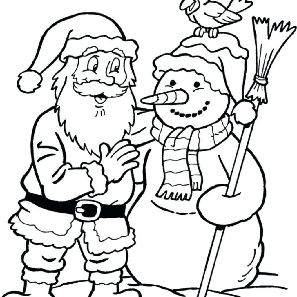Happy Santa Claus Christmas Coloring Pages With Regarding 1 Color
