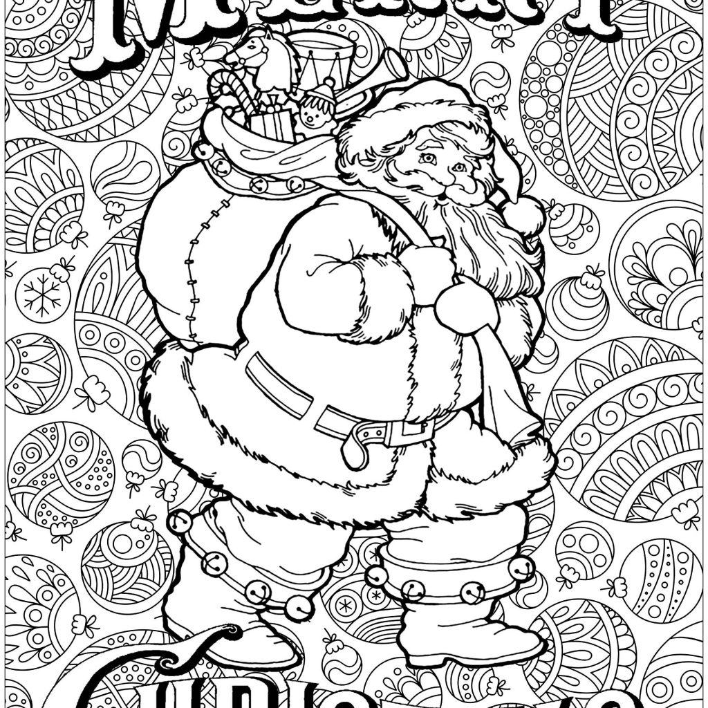 Hard Christmas Coloring Pages For Adults With Difficult Best