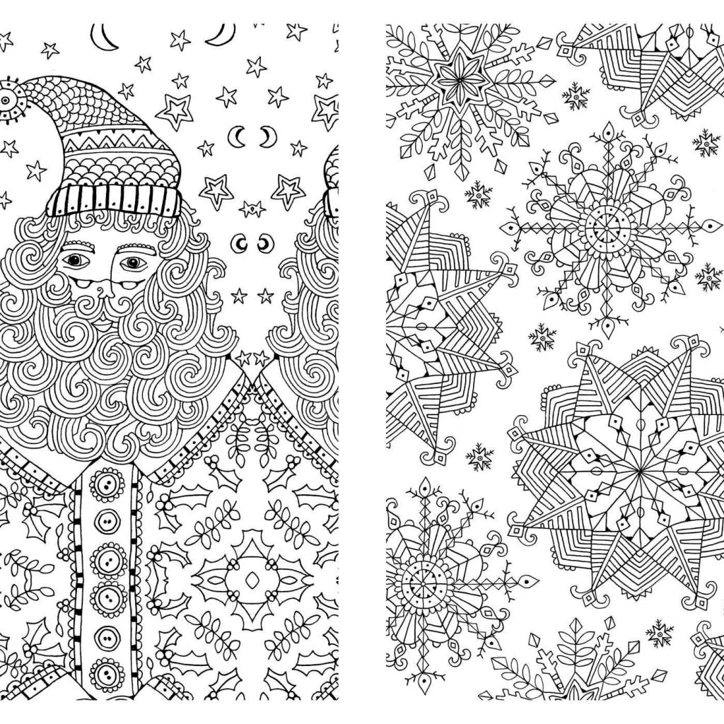 Hard Christmas Coloring Pages For Adults With Difficult Free And