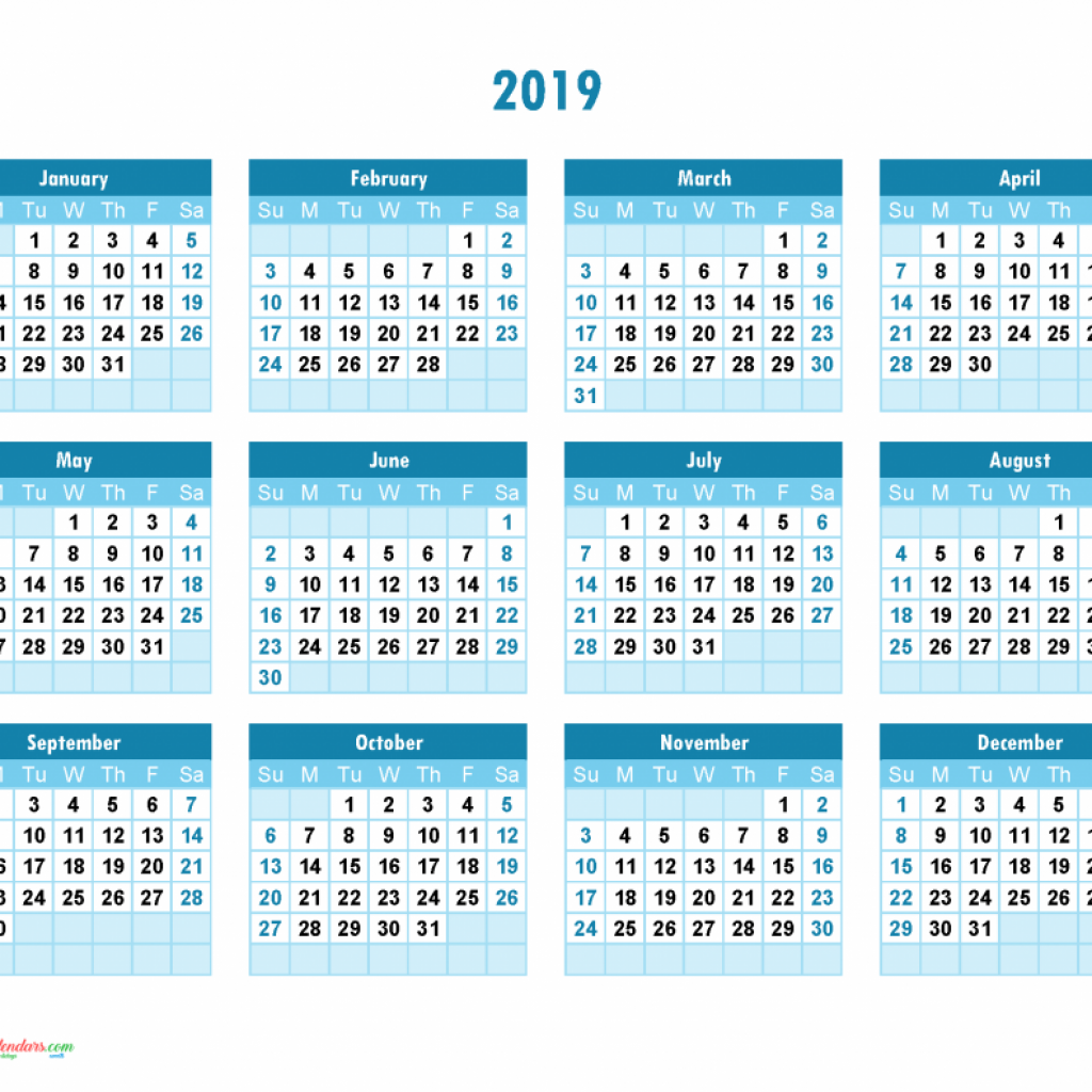 Hebrew Calendar Year 2019 With Yearly Printable Full Theme
