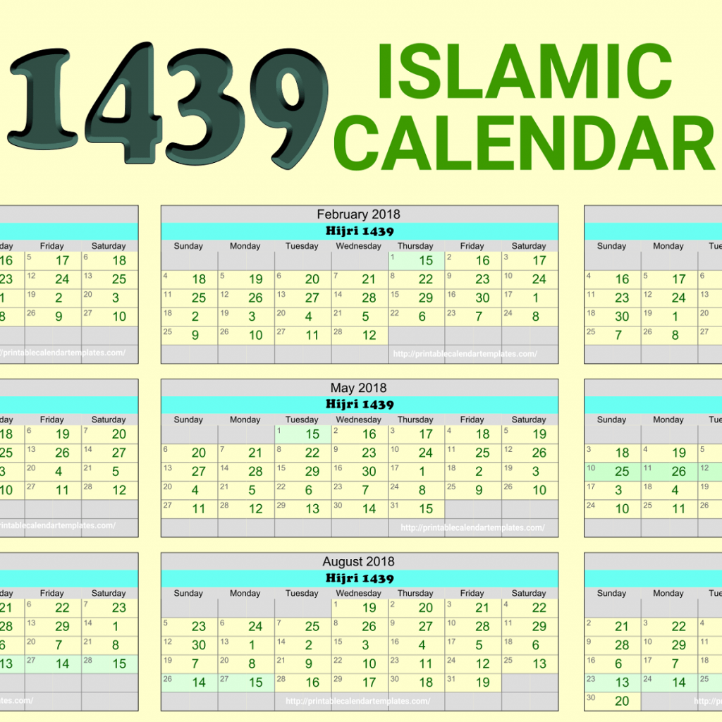 Islamic Hijri Calendar Year 2019 Ce With 2018 1439 Printable