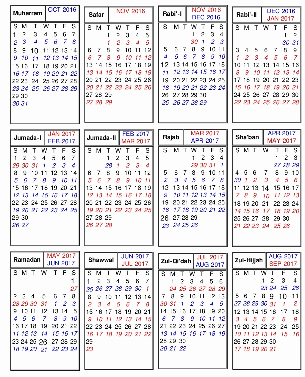 Islamic Hijri Calendar Year 2019 Ce With 2018 Weekly