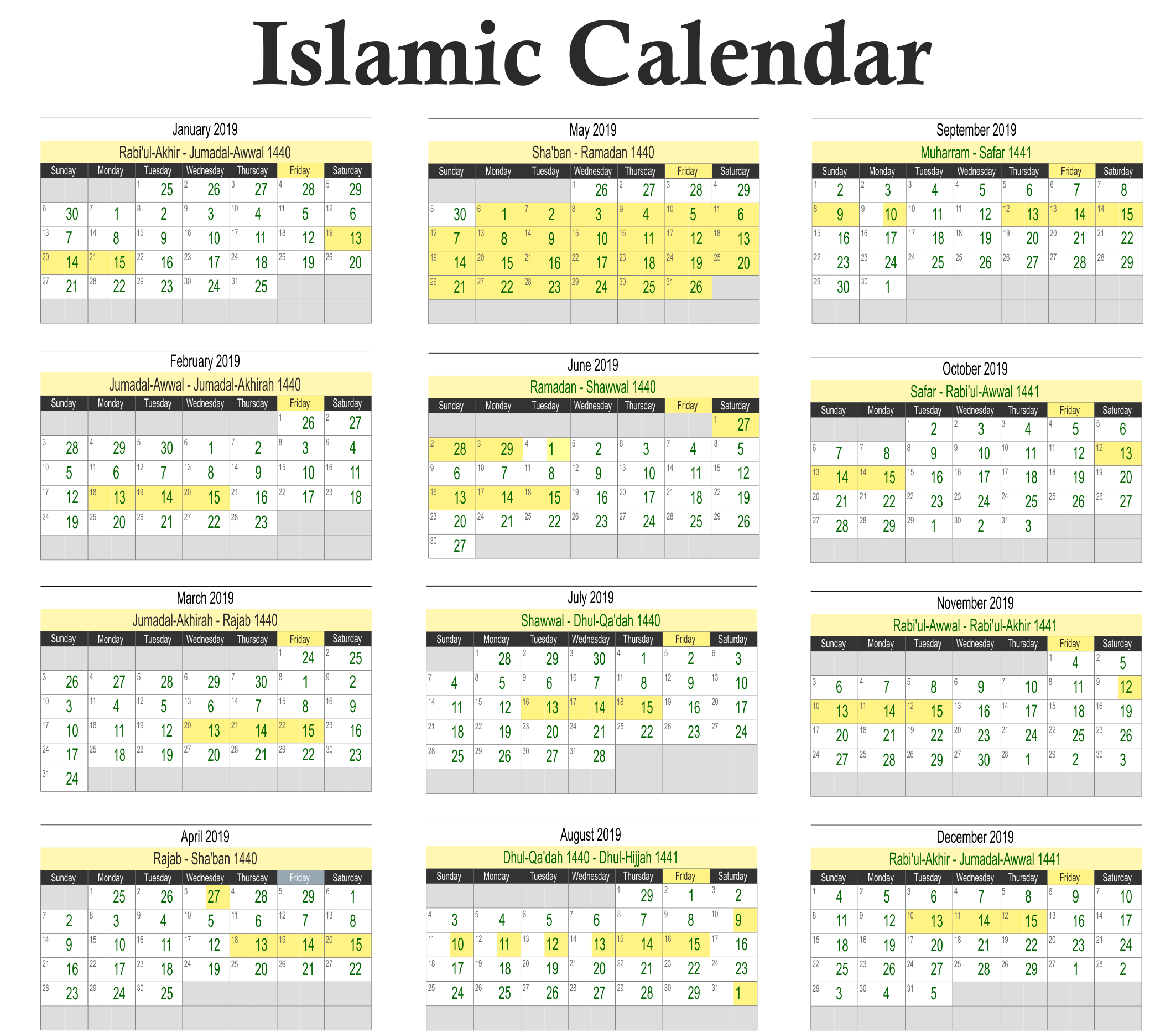 Islamic New Year 2019 Calendar With And Hijri Printable Coloring Page For Kids