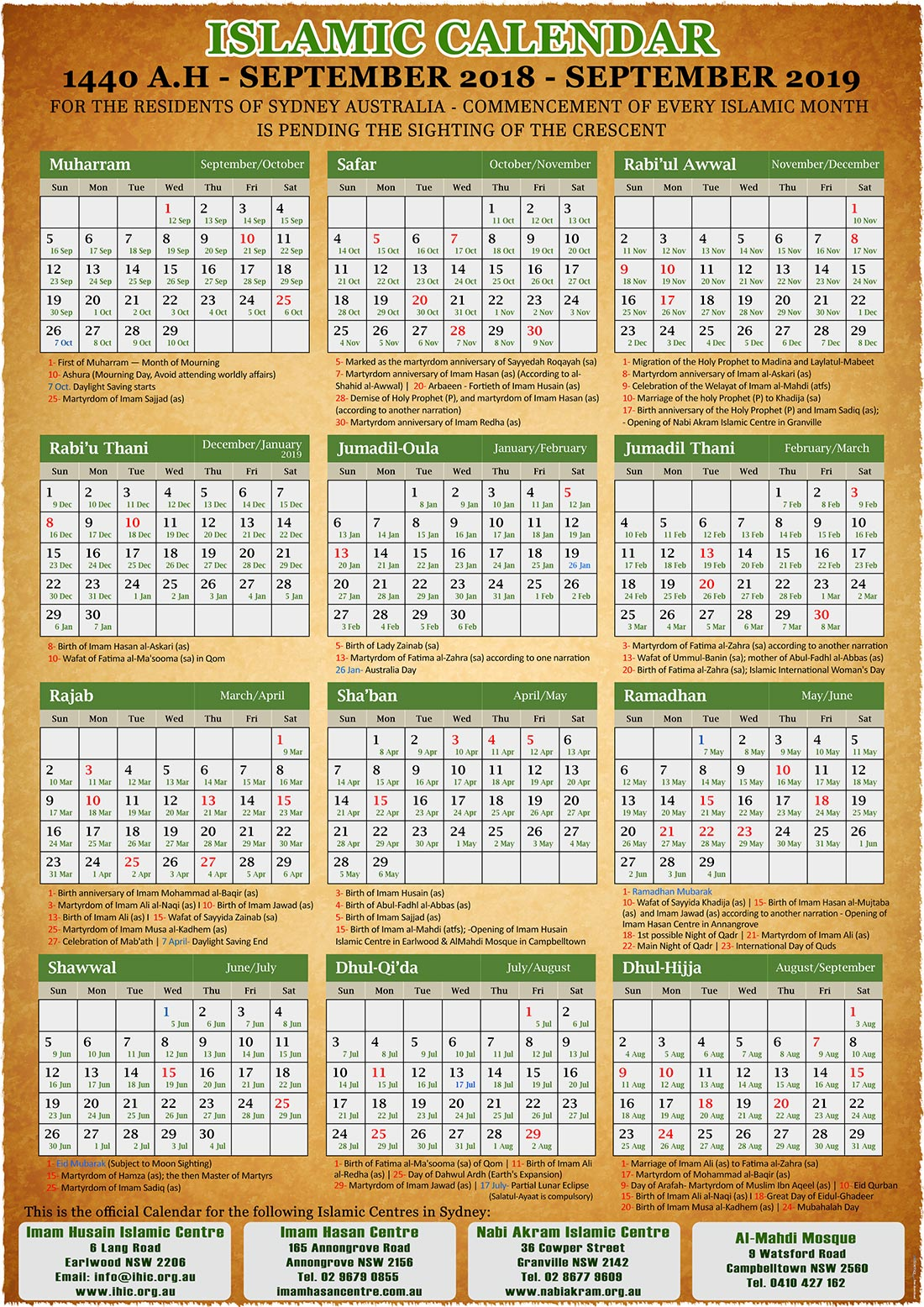 Islamic New Year 2019 Calendar With Annual 1440 A H Imam Husain Centre