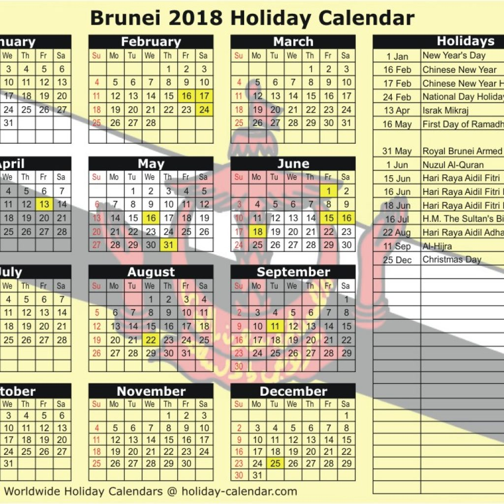 Islamic New Year 2019 Calendar With Brunei 2018 Holiday