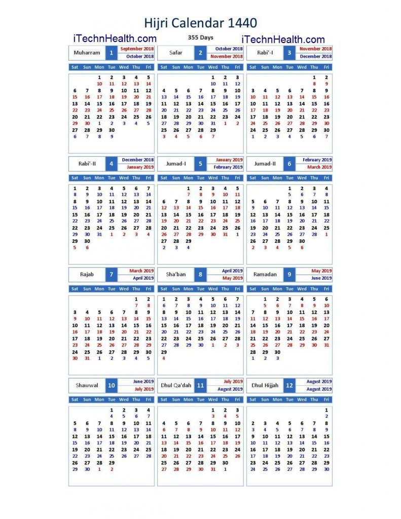 Islamic New Year 2019 Calendar With Download And 1440