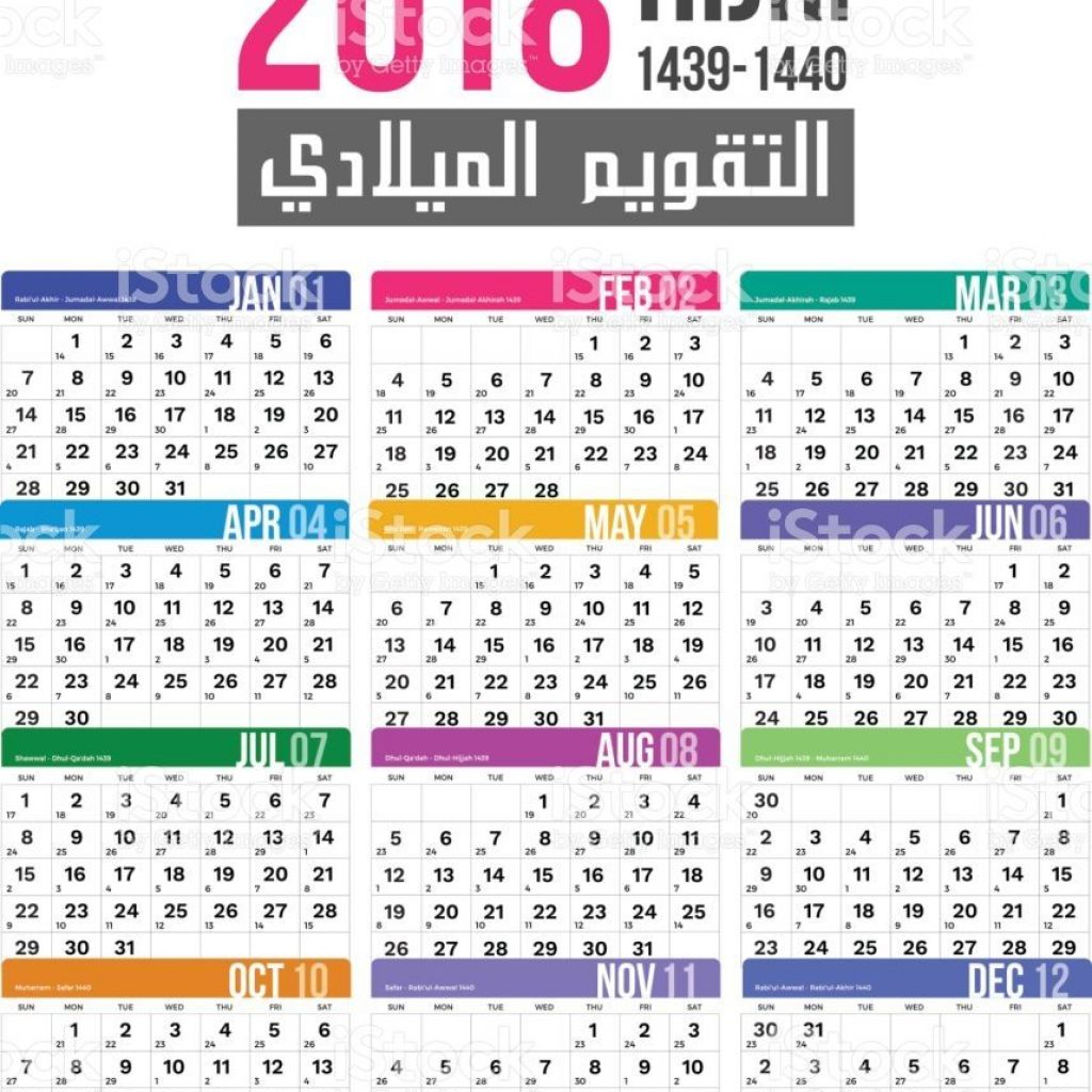 Islamic New Year 2019 Calendar With Hijri Template Vector Design For 1439 1440