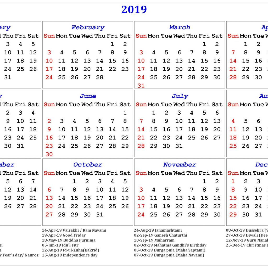 Islamic New Year 2019 Calendar With Hindu Tithi Tyohar Holidays Festivals