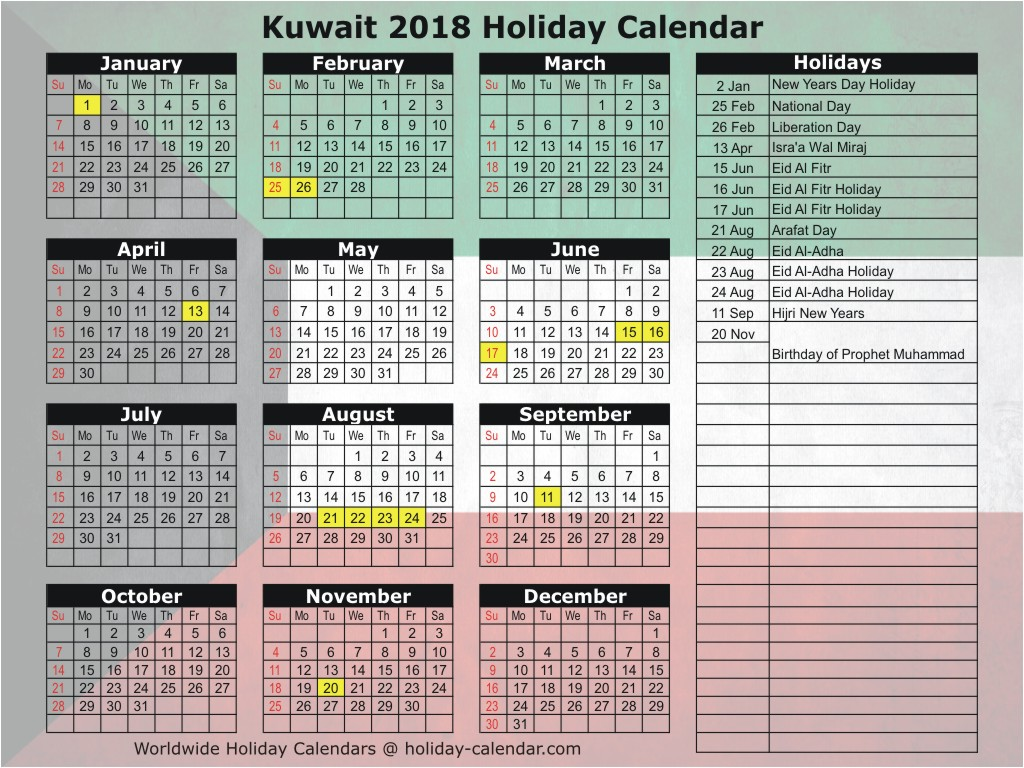 Islamic New Year 2019 Calendar With Kuwait 2018 Holiday