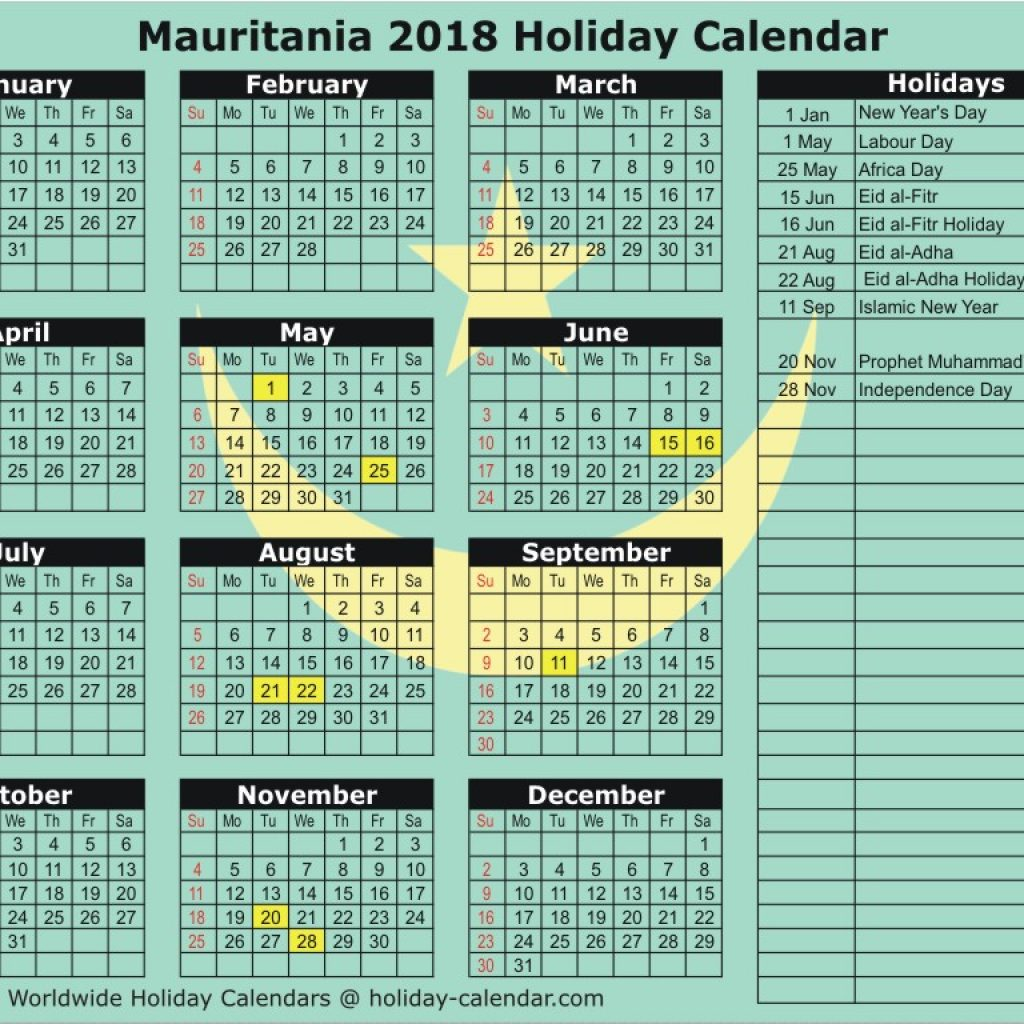 Islamic New Year 2019 Calendar With Mauritania 2018 Holiday