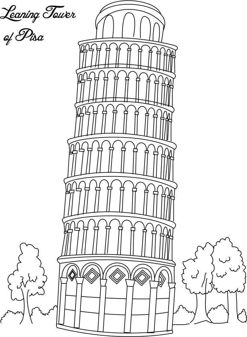 Italian Christmas Coloring Pages With Collection Of Landmarks Around The World Leaning