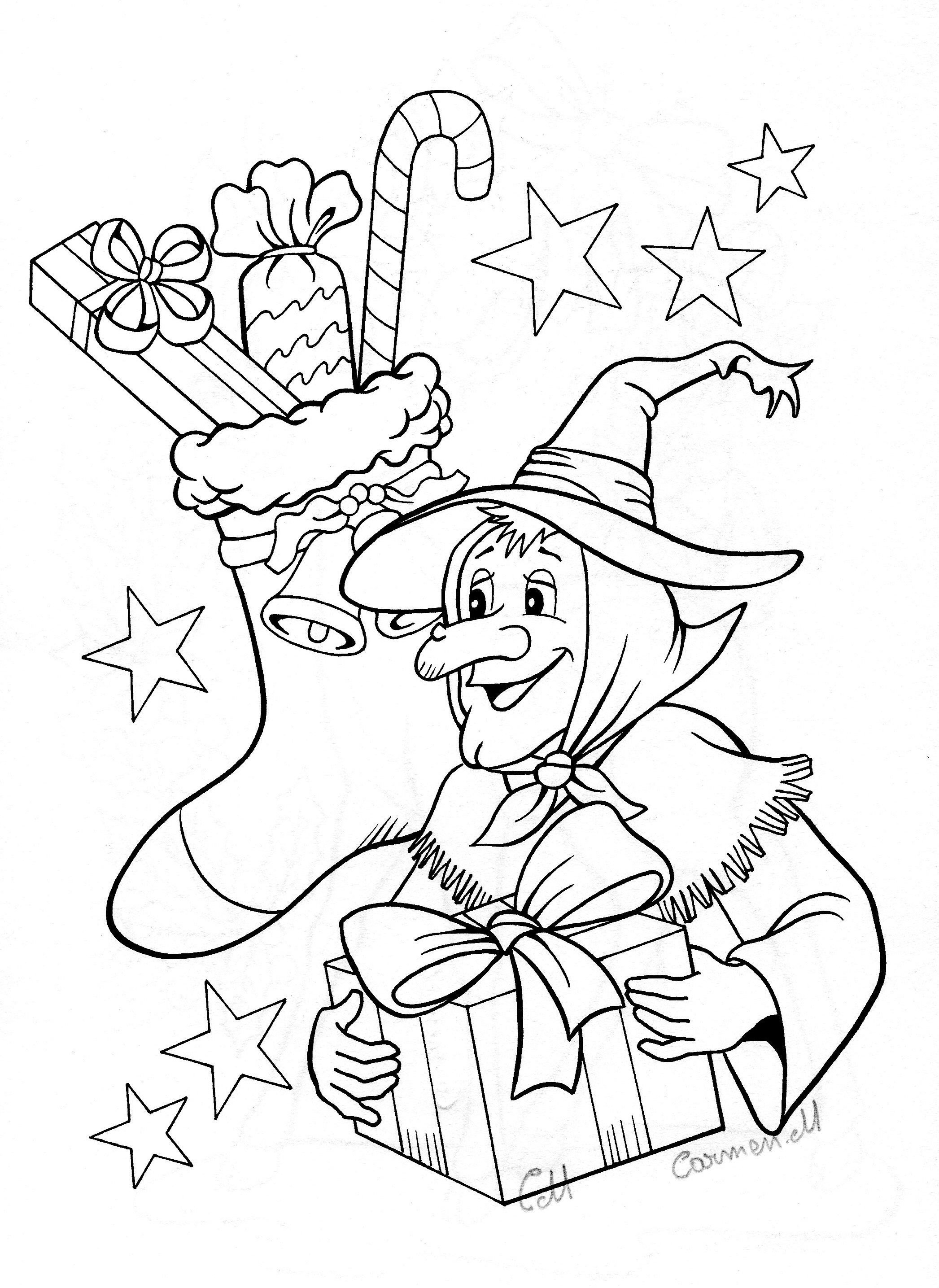 Italian Christmas Coloring Pages With La Befana Italy S Witch Holiday Pinterest