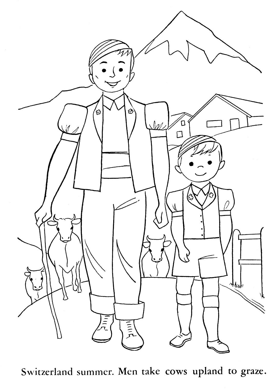 Italian Christmas Coloring Pages With Switzerland For Kids Children Of Other Lands 1954