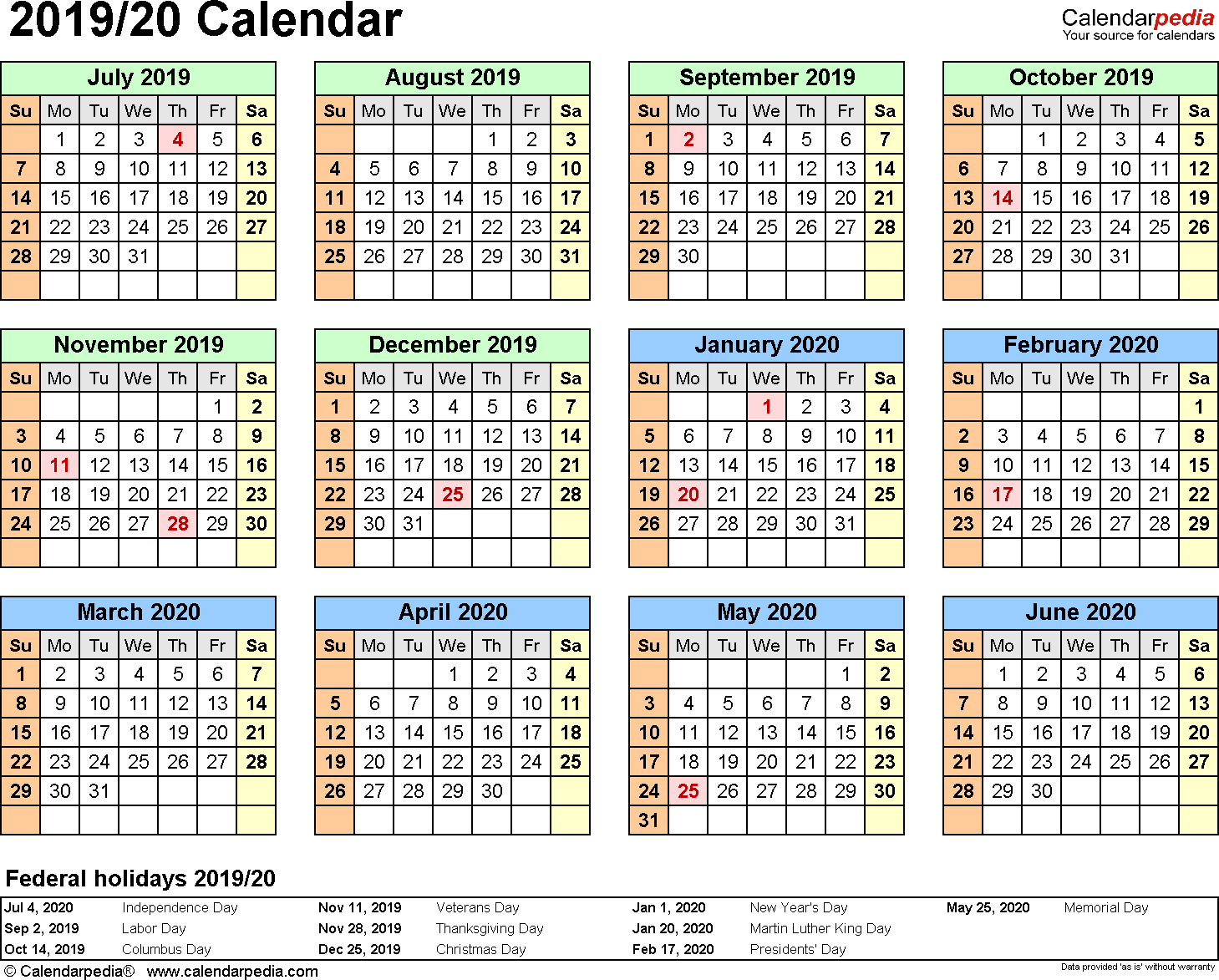 Japanese Calendar Year 2019 With Split 20 July To June Word Templates