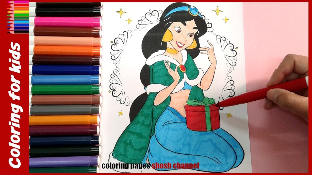 Jasmine Christmas Coloring Pages With Disney Princess