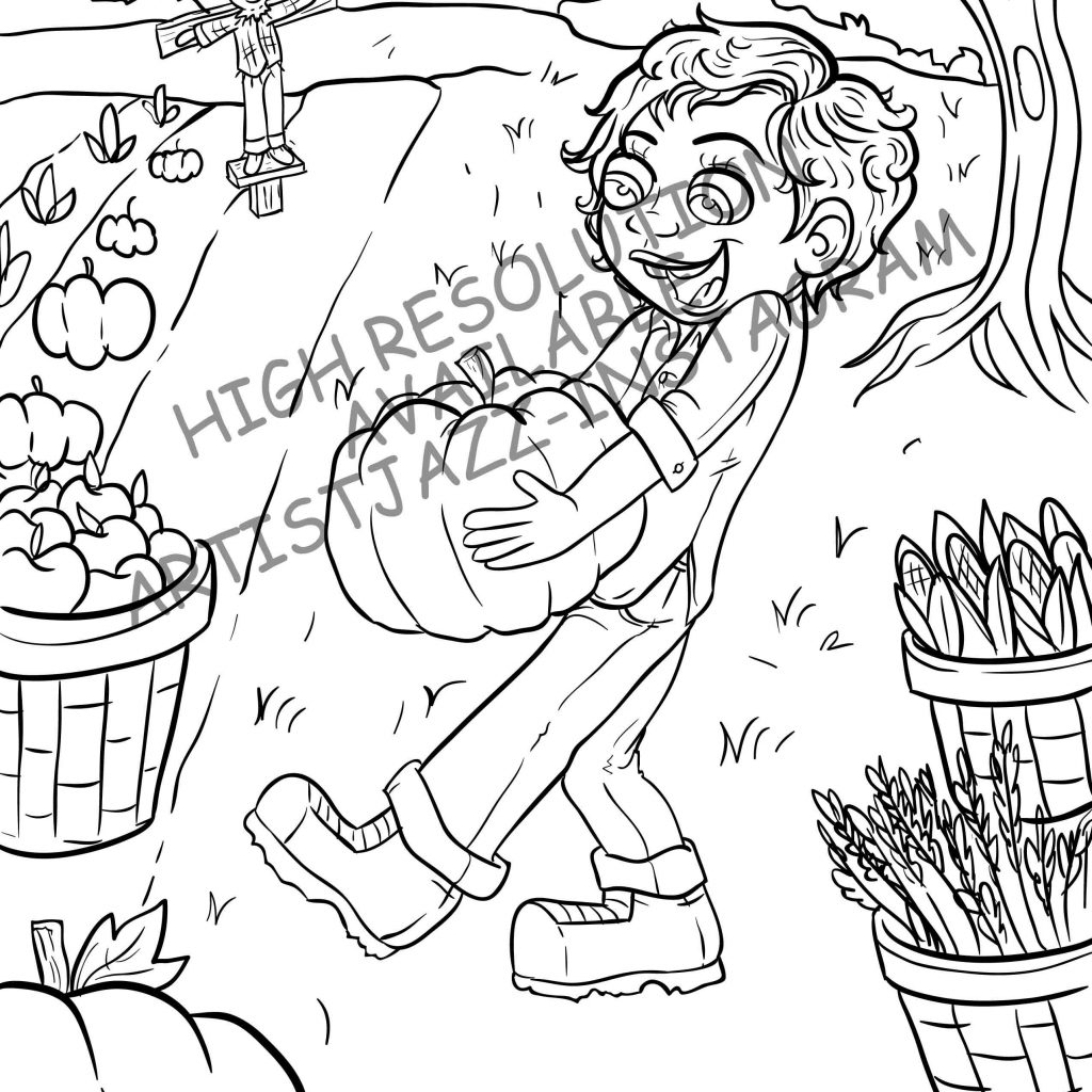 Jasmine Christmas Coloring Pages With Downloadable Calendar Harvest Page Pumpkin